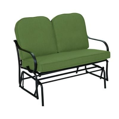Hampton Bay Fall River Patio Double Glider With Moss Cushion D11034 G At The