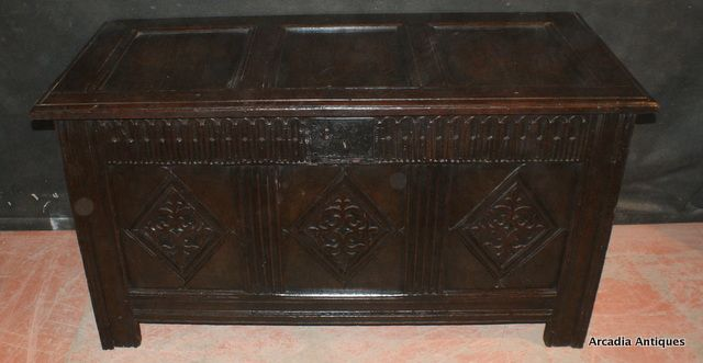 17th Century Antique Oak Coffer With