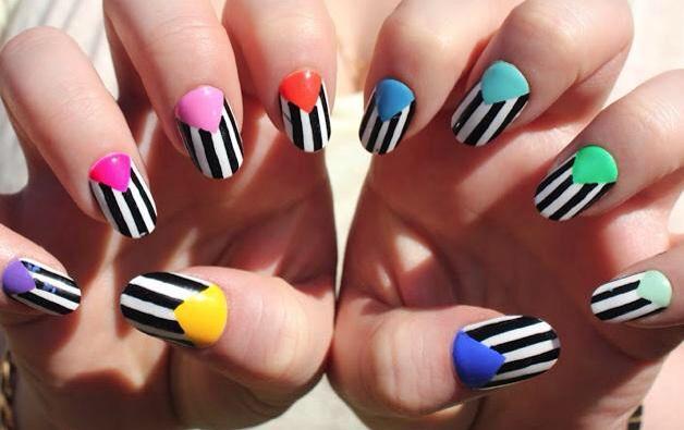 Colourful Stripe Nails