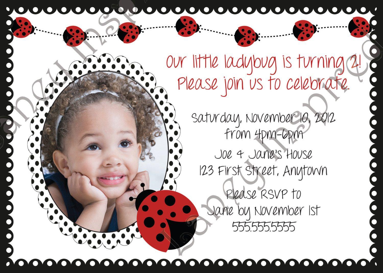 Invite - Lady bug Birthday Invitation or Baby Shower Invitation ...