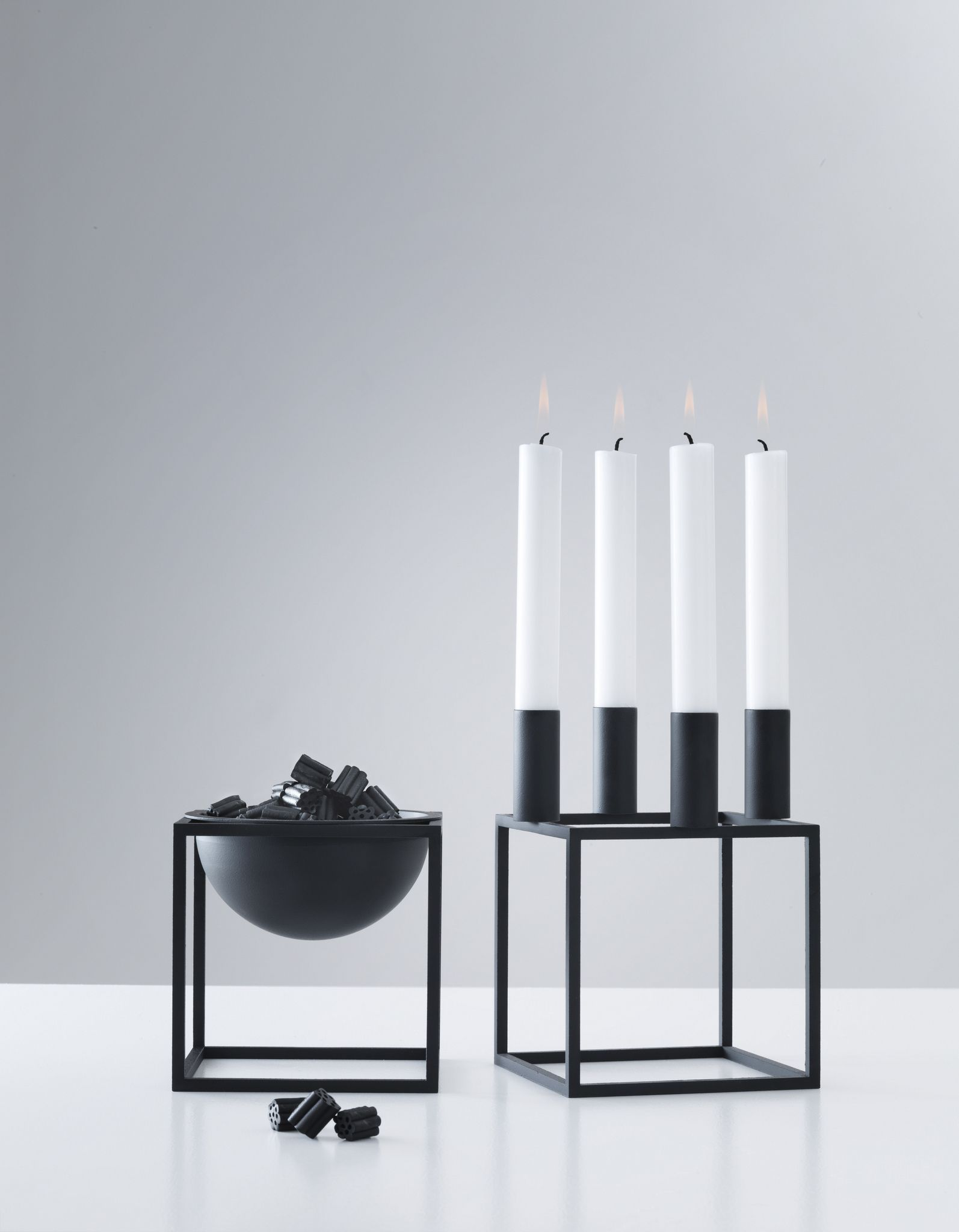 Black Kubus 4 Candle Holder And Kubus Bowl By Lassen Lysestage Designer Stearinlys