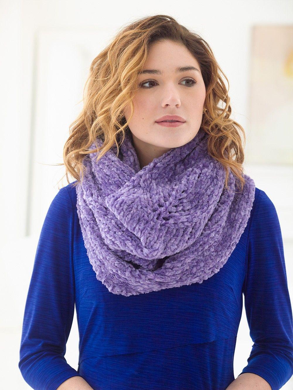 Chenille Lace Cowl Pattern - Patterns - Lion Brand Yarn | knit it ...