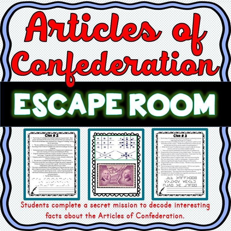 Articles of Confederation ESCAPE ROOM: First Constitution : NO PREP