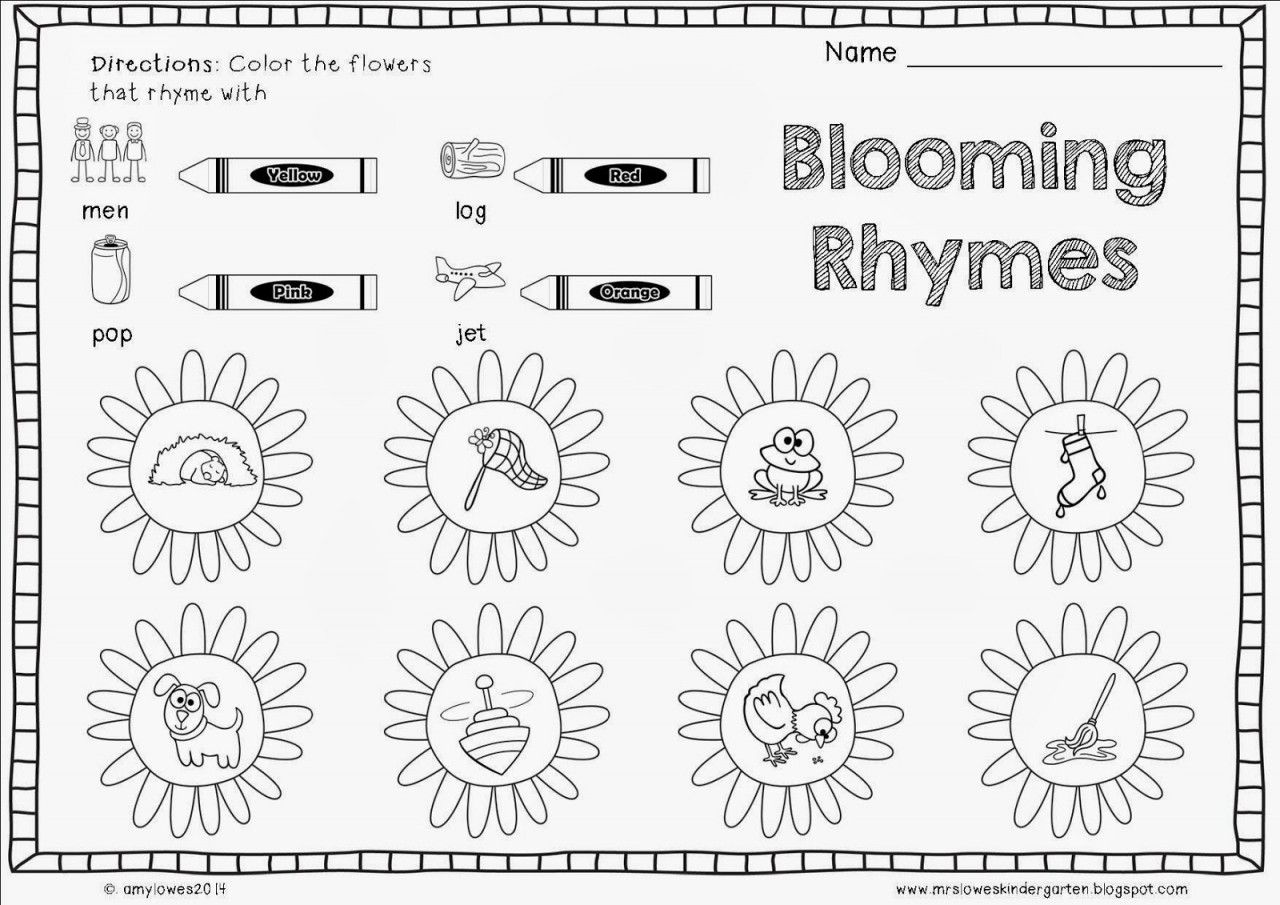 Rhyming Worksheets For Preschoolers