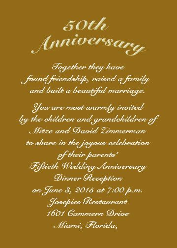 anniversary invitations 50th Use an RSVP card for date of - anniversary card template