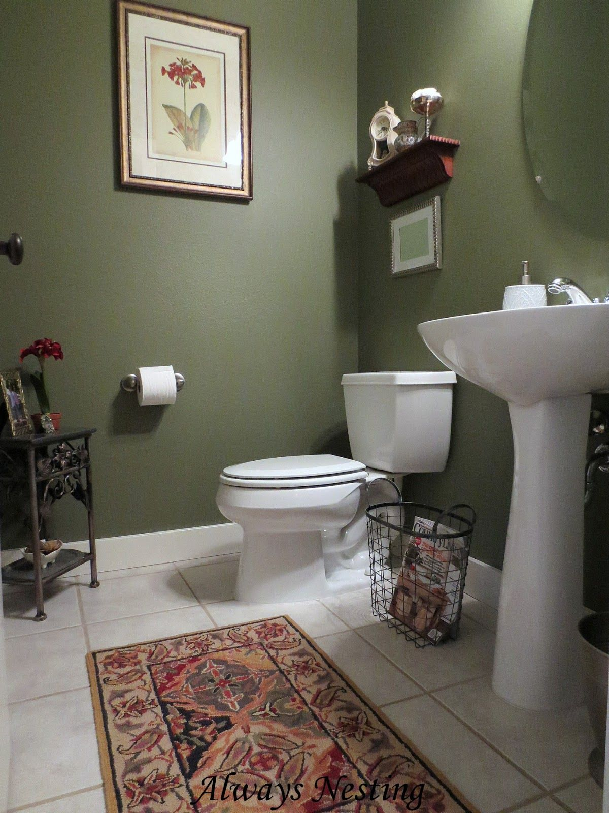 I like the contrast of the green and white bathroom in - Small powder room decorating ideas ...