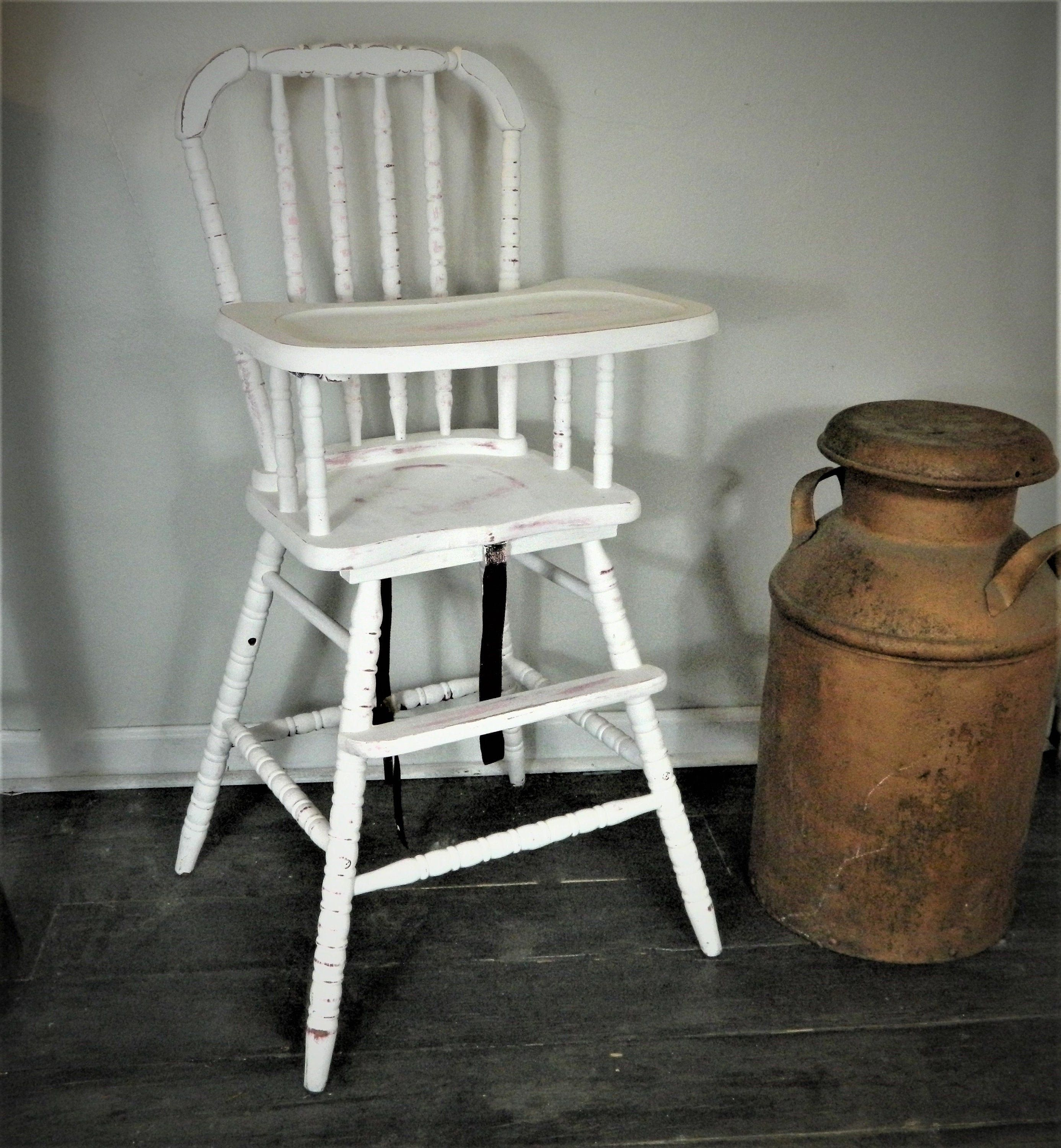 Jenny Lind Style Farmhouse Vintage Wood High Chair White