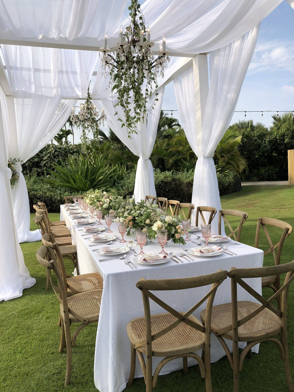 Ivory Dining Canopies Signature Boutique Event Rentals Maui Hawaii In 2020 Backyard Bridal Showers Wedding Canopy Outdoor Outdoor Dinner Parties