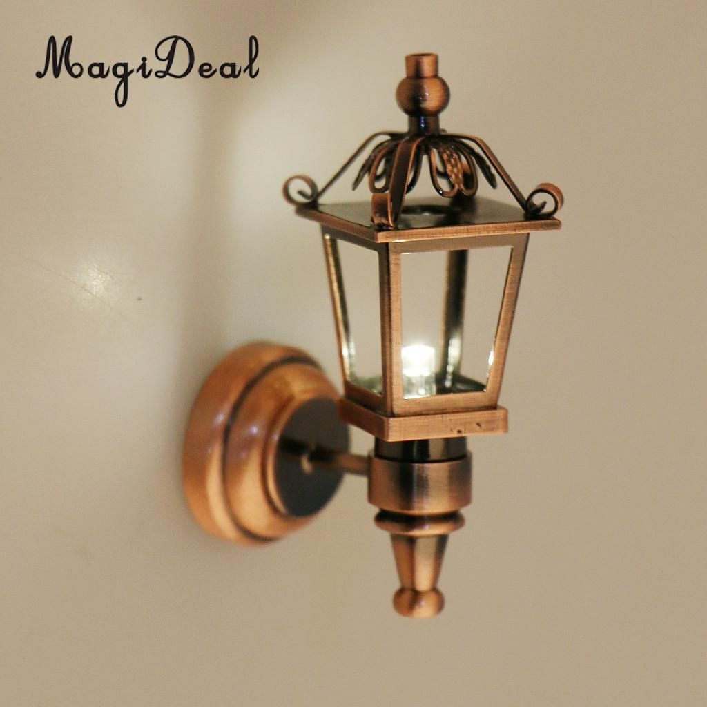 2 Pieces Metal 1:12 Dollhouse Miniature Wall Light Lamp Model Decors Pip