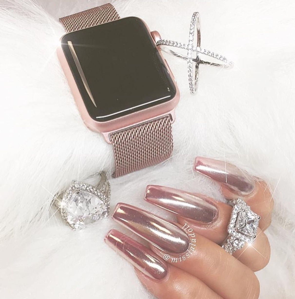 Rose gold chrome nails | Nails | Pinterest | Uñas espejo