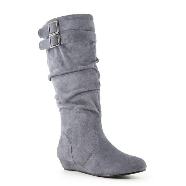 ea3a19f8ea0 ANNA Juno Slouch Wedge Boot ($25) ❤ liked on Polyvore featuring ...