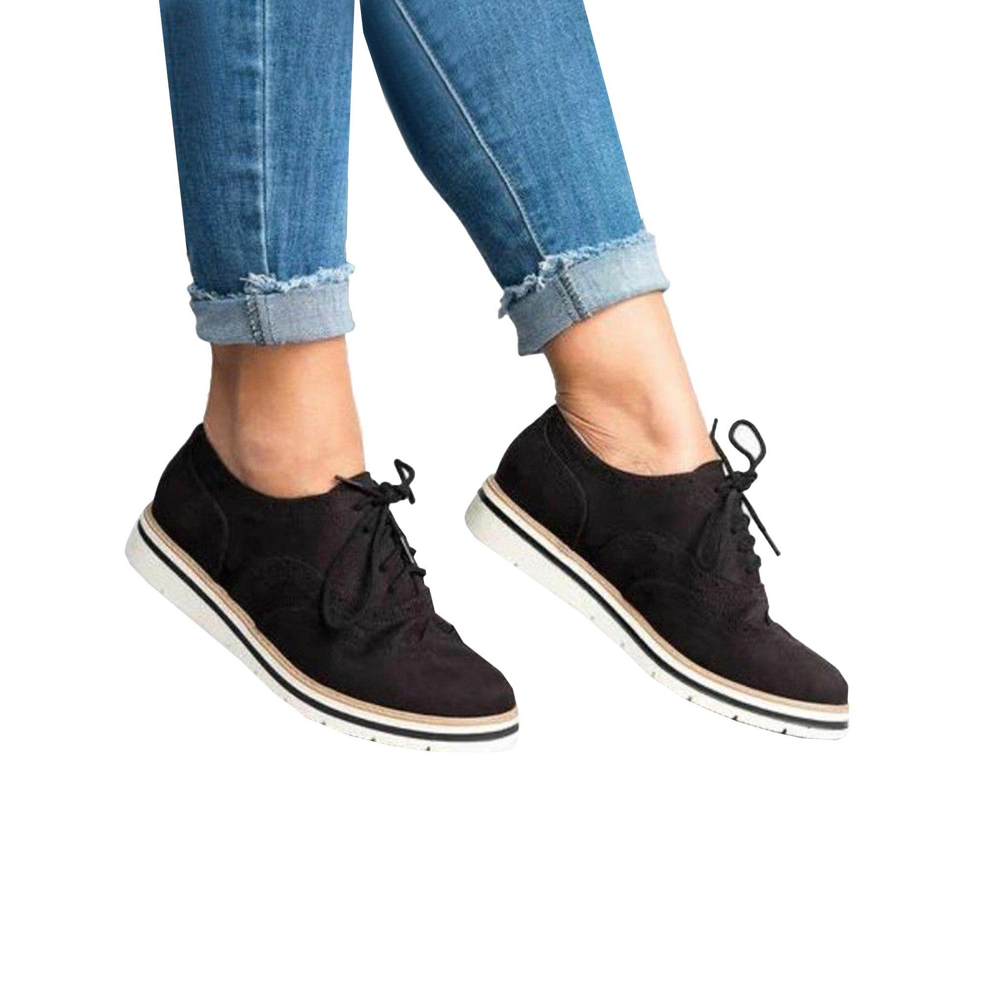 Lallc Women S Oxfords Lace Up Flat Smart Work Sports Brogue Trainers Casual Shoes Walmart Com Casual Sneakers Women Business Casual Shoes Women Work Shoes Women [ 2000 x 2000 Pixel ]
