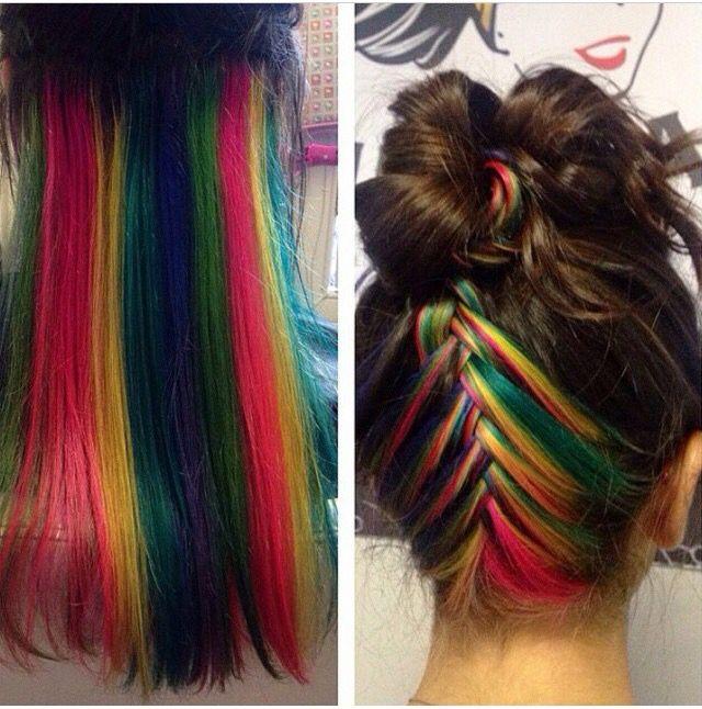 Rainbow Hair Underneath Cuts Color I Iike Pinterest Rainbow