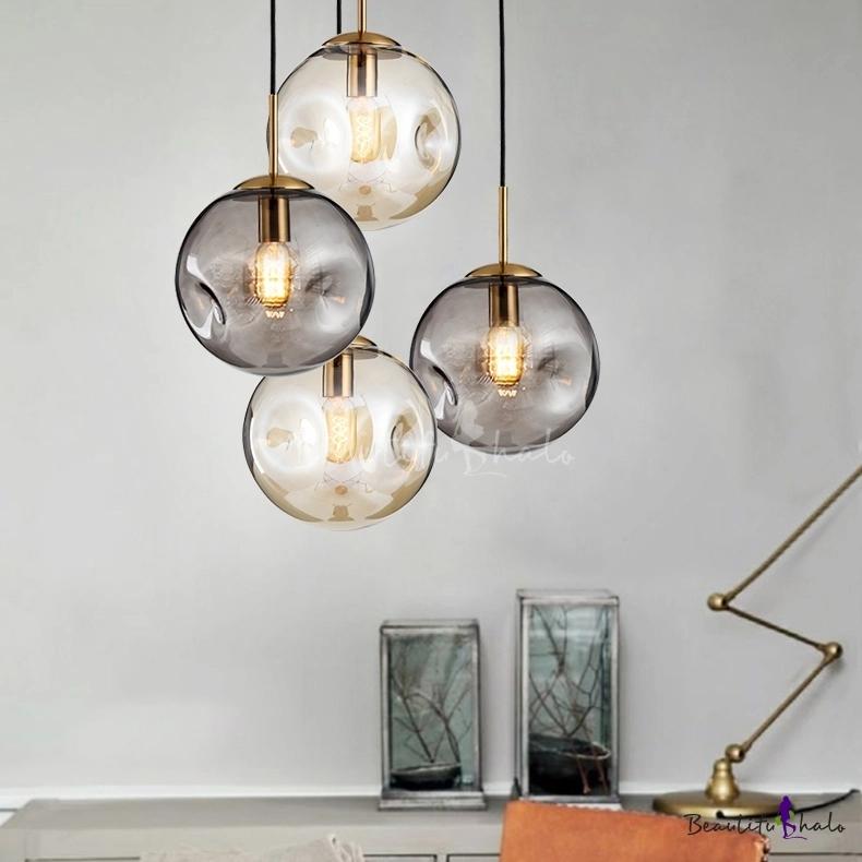 Designers Style Globe Pendant Light Cognac Smoke Glass 1 Bulb Suspension Light For Bedroo Ball Pendant Lighting Glass Ball Pendant Lighting Globe Pendant Light