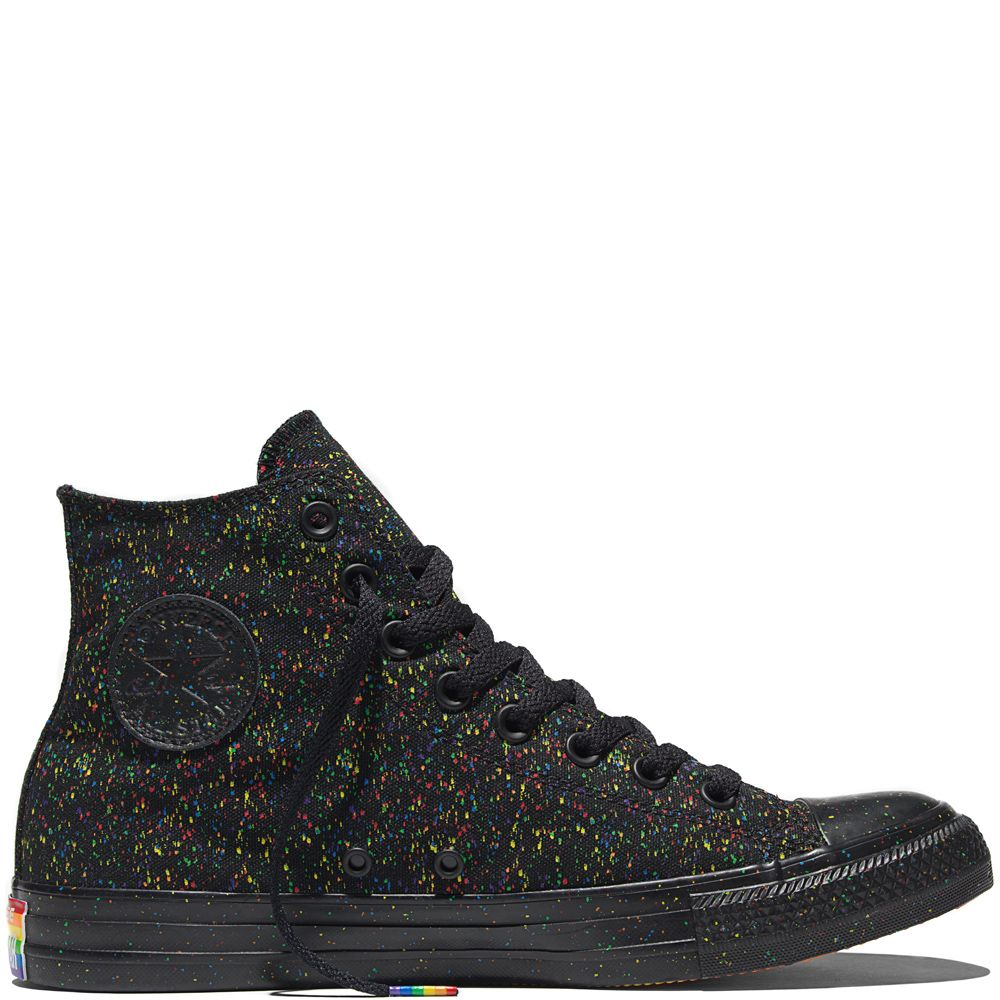 cb502eebf410e7 Black Splatter PRIDE Converse. I absolutely love these.