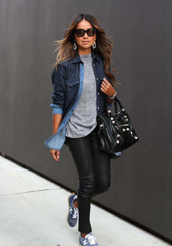 Make leather pants look more casual by adding sneakers.