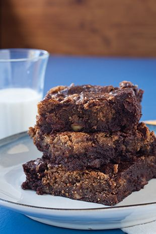 Gluten Free Almond-Swirled Brownies - made with almond flour, almond butter and applesauce.