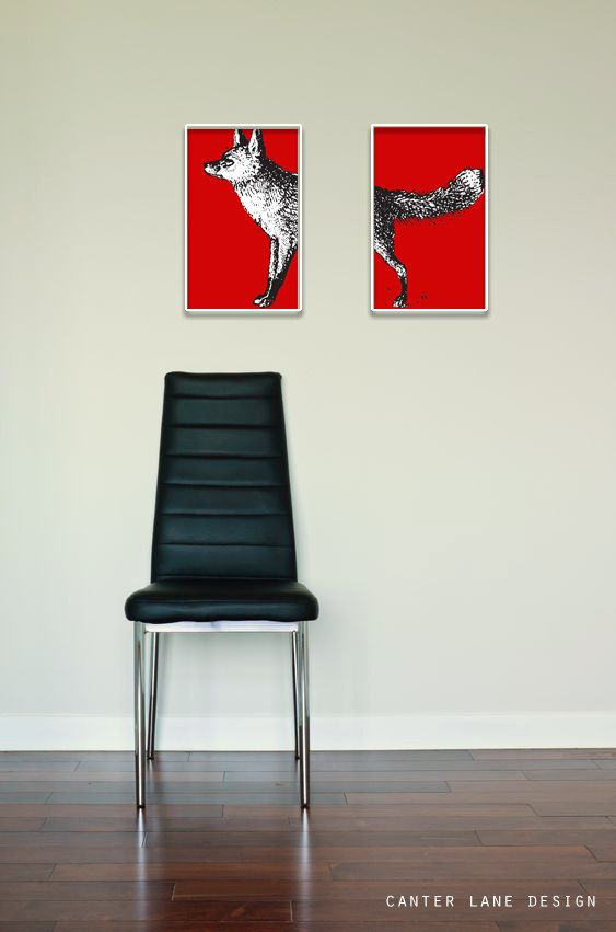 Fox Art Print Set The Red Fox by CanterLaneDesign on Etsy, $35.00