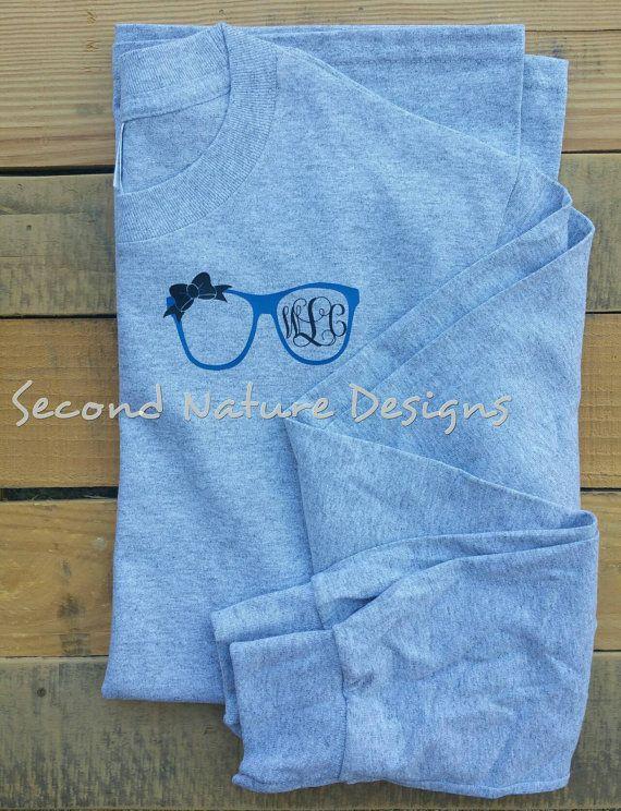 38768edcad7 Monogrammed Eye Glasses T-Shirt   Women s Monogrammed Glasses Shirt ...