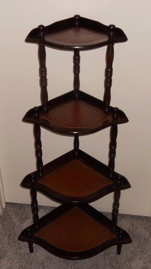 Vintage 4 Tier Corner Shelf Wood Spindle Leather Inlay Display Stand Unit Floor