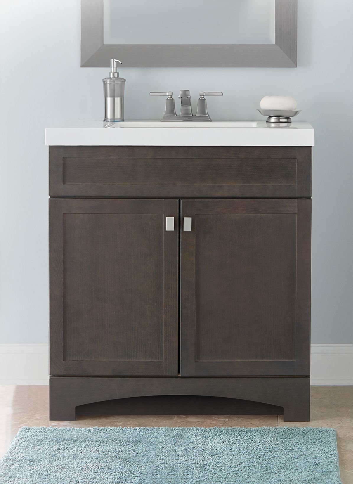 Style Selections Drayden 30 5 In Heirloom Single Sink Bathroom Vanity With White Cultured Marble Top Lowes Com Bathroom Vanity Bathroom Sink Vanity Single Sink Bathroom Vanity