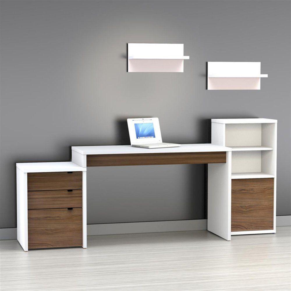 Nexera Liber T Computer Desk White And Espresso Www Hayneedle Com White Desk With Drawers White Computer Desk File Cabinet Desk