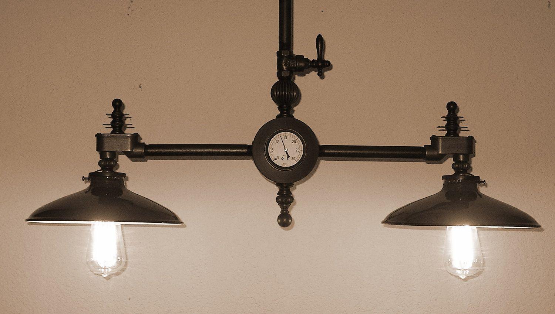 steampunk chandelier vintage industrial light machine age  edison bulb steam punk lamp. $445.00, via Etsy.