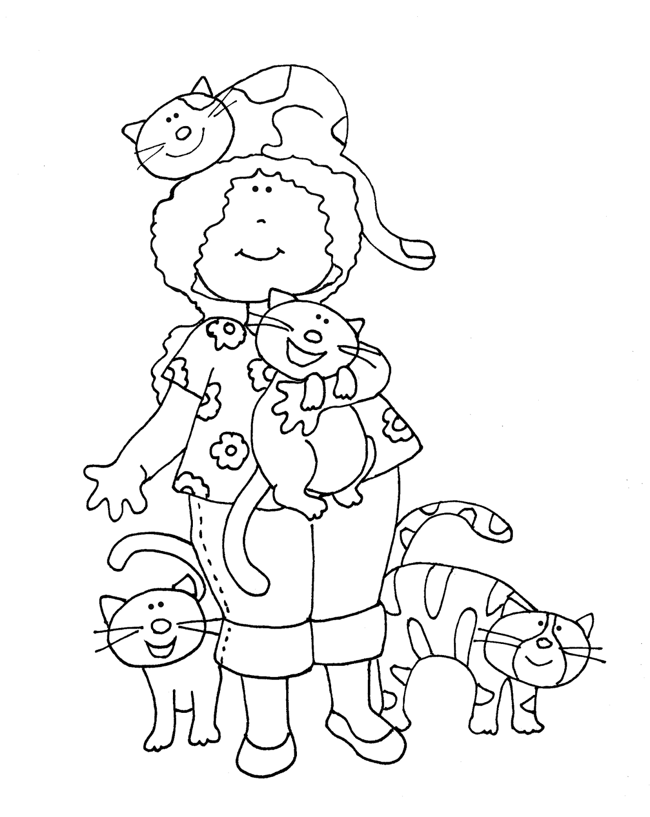 Free Dearie Dolls Digi Stamps: A Girl and Her Cats (I was not sure if this was posted before...but she is cute for you cat lovers.)
