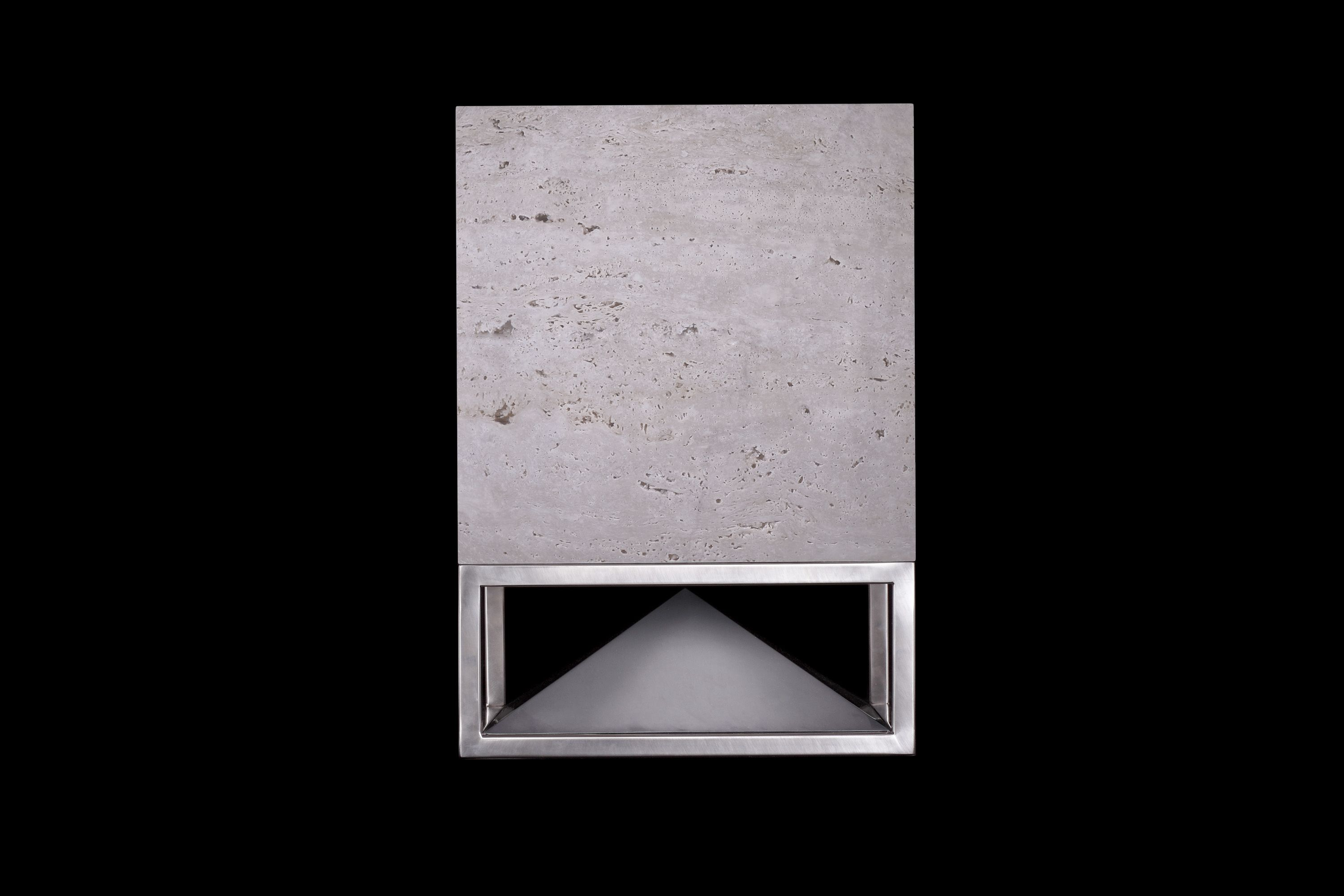 Cube, travertine and stainless steel base, omnidirectional sound module designed by Vladimir Djurovic for Architettura Sonora