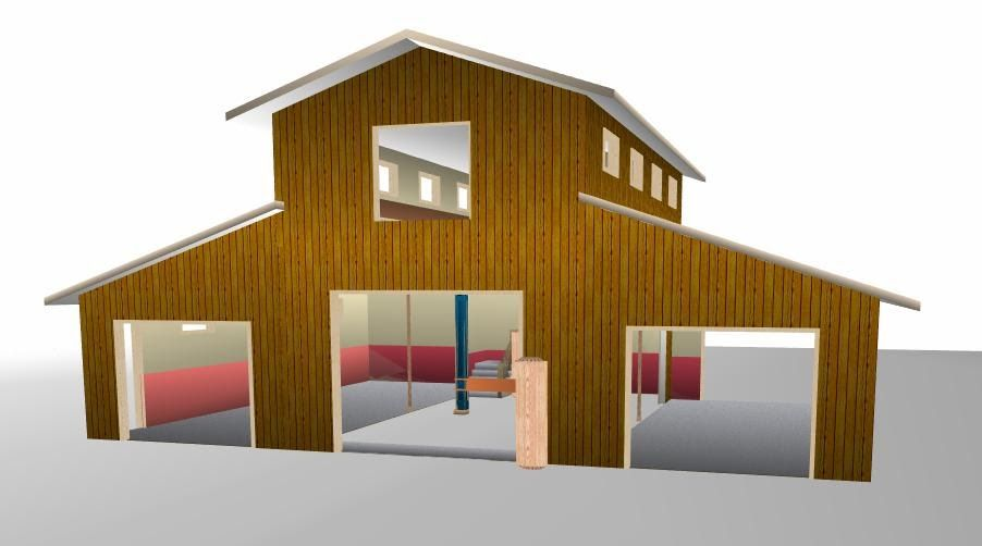 Monitor Style Pole Barn Plans Horse Barn with Apartment Plans ...