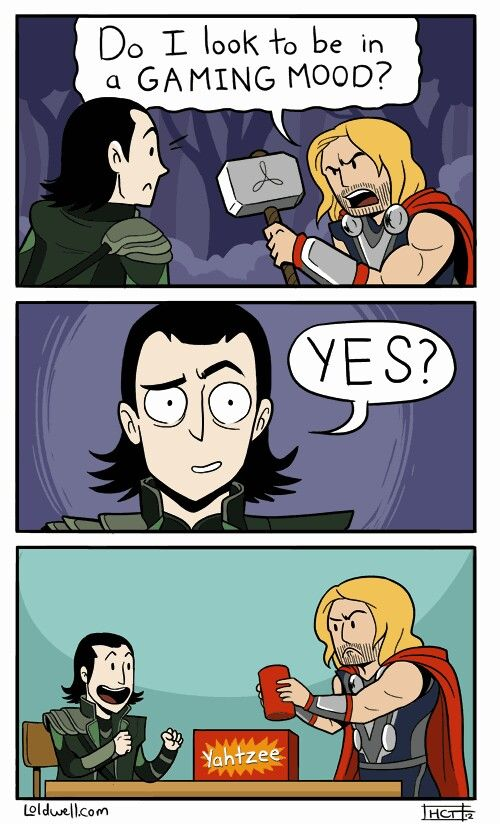 Loki and Thor in a gaming mood, lol.