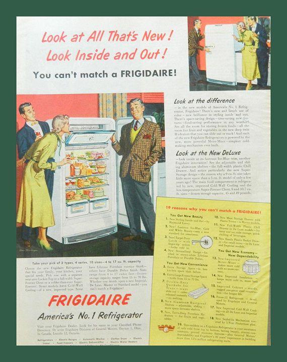 Frigidaire Ad - Vintage Kitchen Wall Art - 1950 Appliance ...
