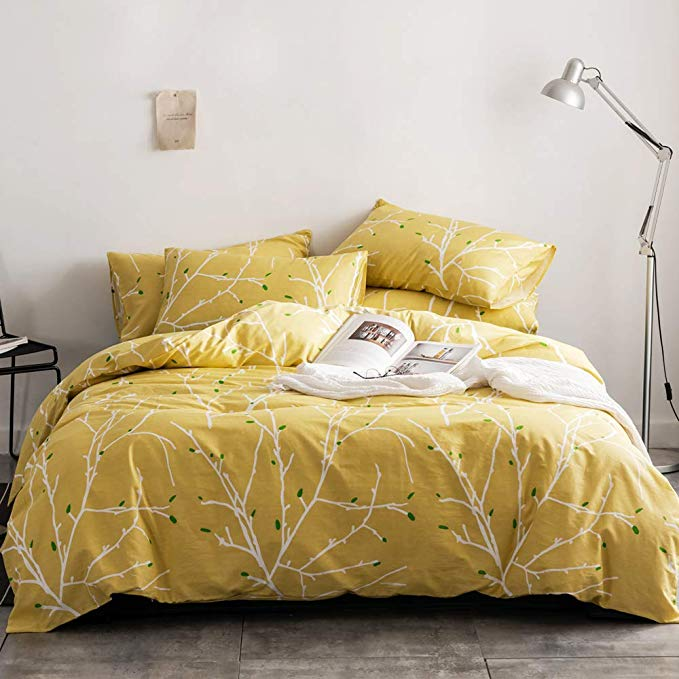 Amazon Com Duvet Cover Set Branch Pattern Yellow Duvet Cover With 2 Pillow Shams Hotel Quality 100 Cot Duvet Cover Sets Modern Bed Set Striped Duvet Covers