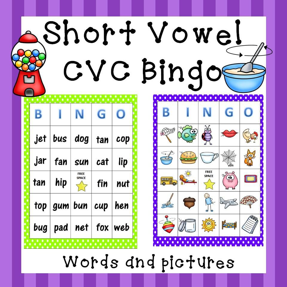 Short Vowels Bingo   Short vowels, Literacy and Learning