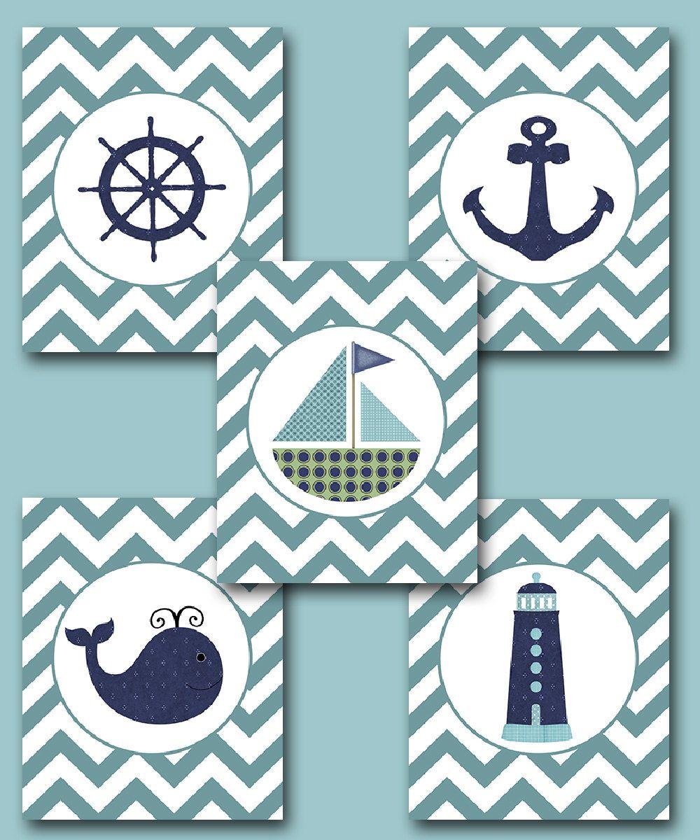 Sea Nautical Ship Baby Boy Nursery Art Nursery Wall Art