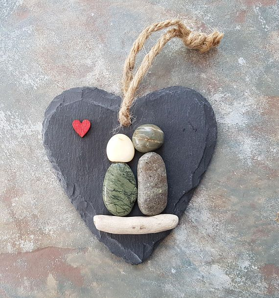 Photo of Unique valentines gift for her, newlywed gift, pebble art couple, small slate heart 10cm – MADE TO ORDER