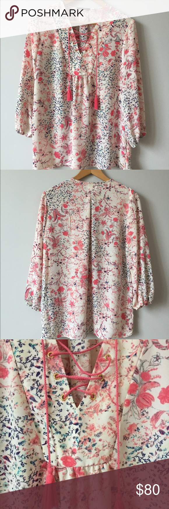 """NWT TAHARI Floral Multicolor Boho Blouse Size S -NWT. -Size S. -100% Polyester  -Pink Tassel Ties in Front. -Length: Approx. 27"""" (Top of the Shoulder to the bottom of the hem line) . -Armpit to Armpit: Approx. 19"""" Tahari Tops Blouses"""