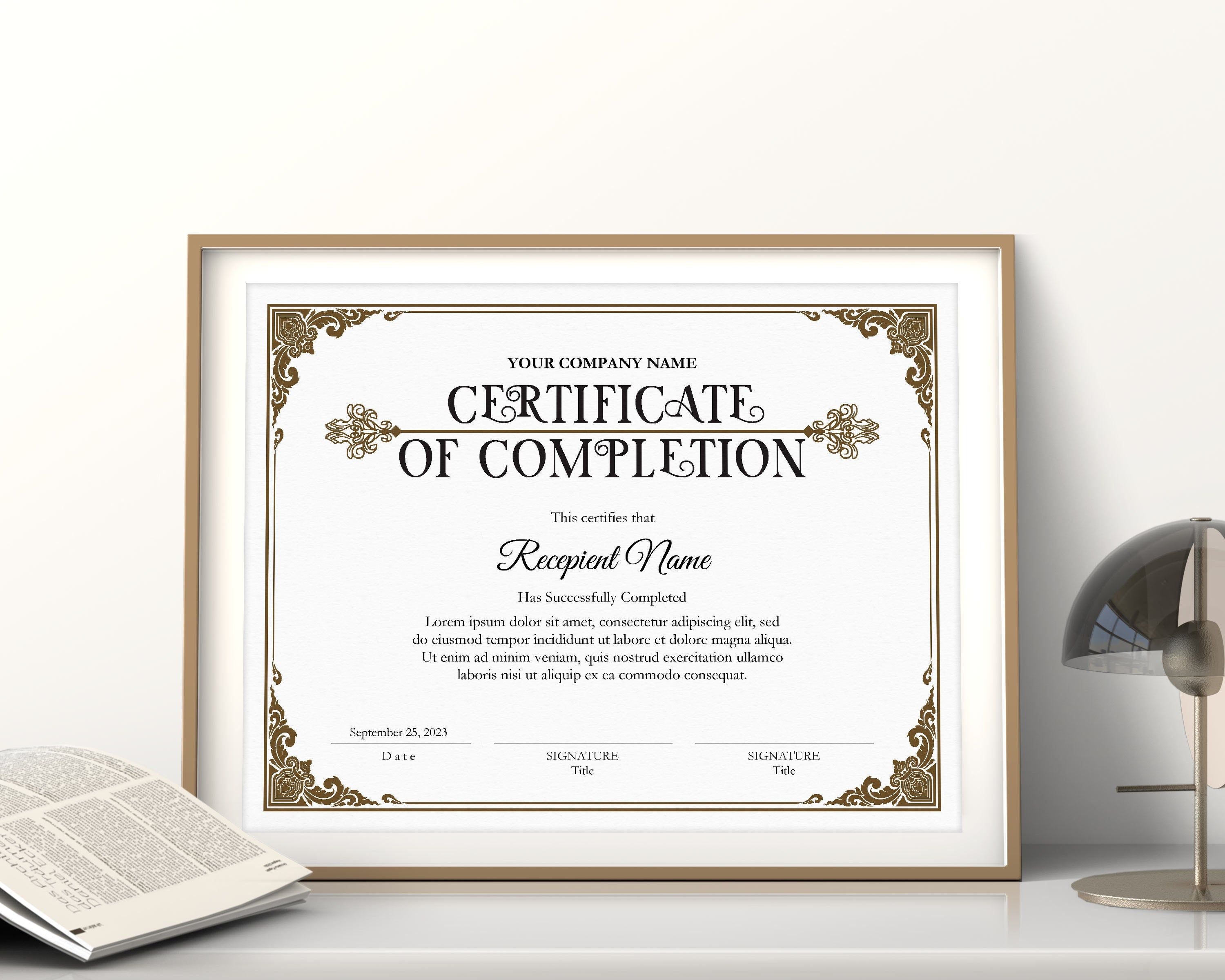 Editable Certificate Of Completion Vintage Certificate Etsy In 2020 Editable Certificates Printable Certificates Certificate Design