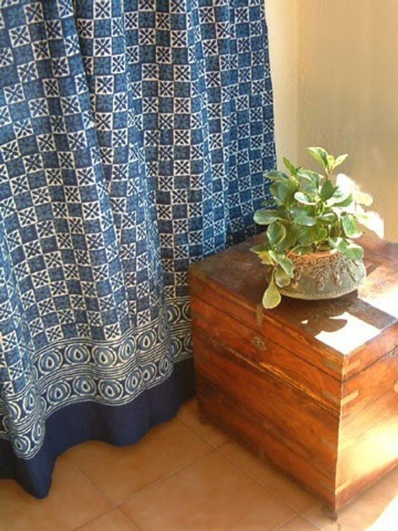 Starry Nights Blue Batik Contemporary Fabric Shower Curtain