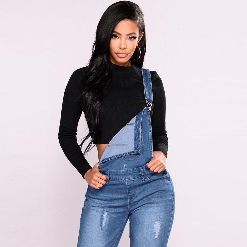 6b64daffb753 Fashion Women Denim Overalls Ripped Stretch Dungarees High Waist Long Jeans  Pencil Pants Rompers Jumpsuit Blue