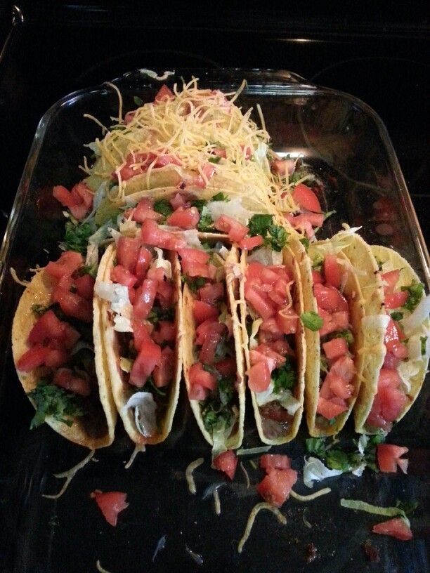Not a Pinstrosity. Very good tacos. Bake the shells standing up with the beans and meat in them.  After that put on the lettuce,  onions, cilantro, tomatoes and cheese. The taco shells get crispy but also have enough moisture to keep them from cracking open after the first bite.   Excellent! ! !