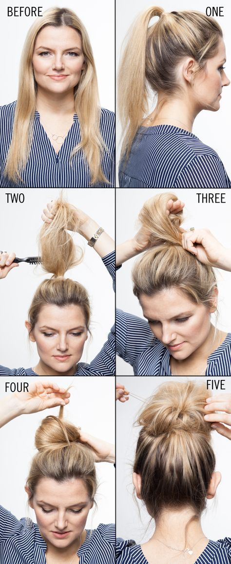 How To Style A Topknot See If My Hair Challenged Self Can Figure This Out Hair Styles Medium Hair Styles Long Hair Styles