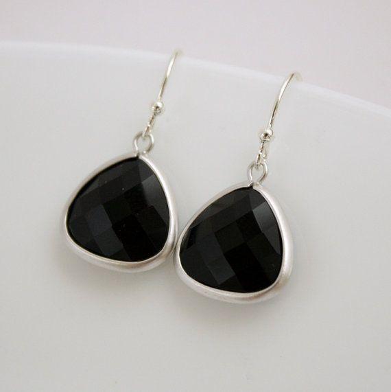 Silver Dangle Earrings Black Onyx Black Earrings by poetryjewelry, $23.00