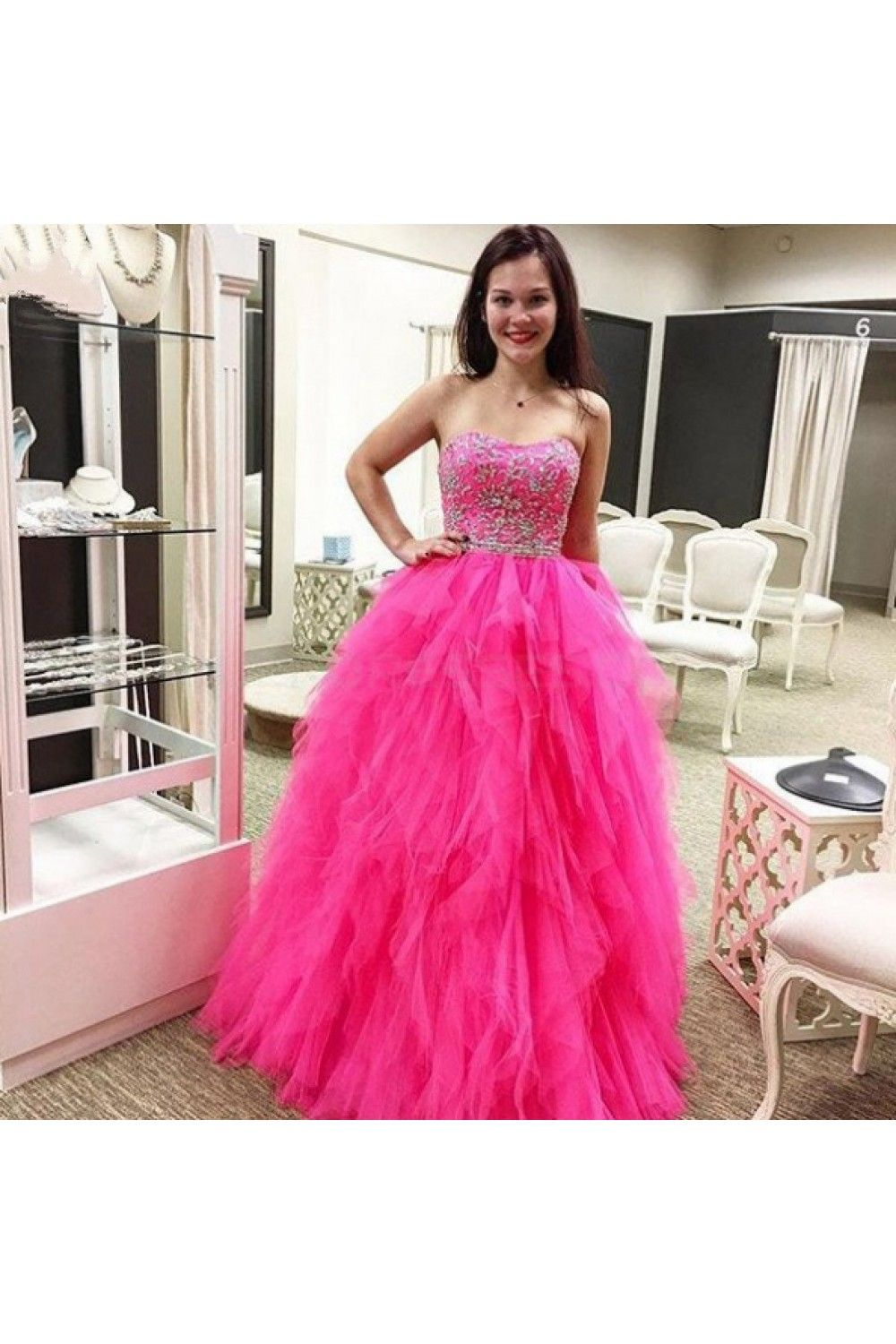 Beaded tulle ball gown long prom formal evening party dresses