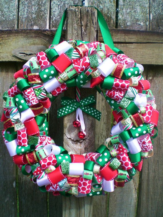 Red Green and White Christmas Holiday Ribbon Wreath with Red Jingle