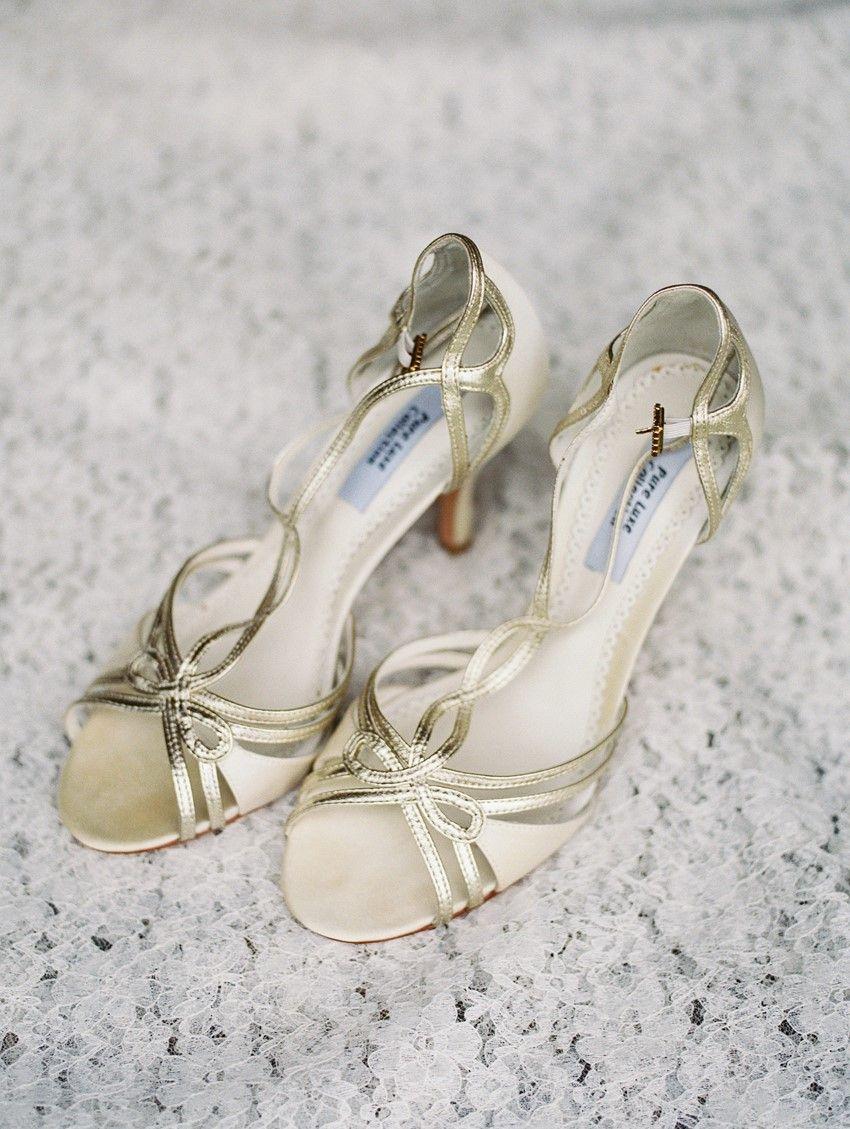 Vintage Gold Bridal Shoes