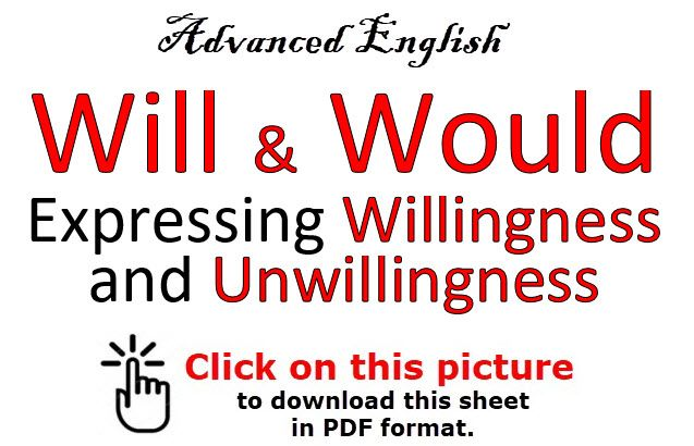 WILL & WOULD Expressing willingness and unwillingness Advanced