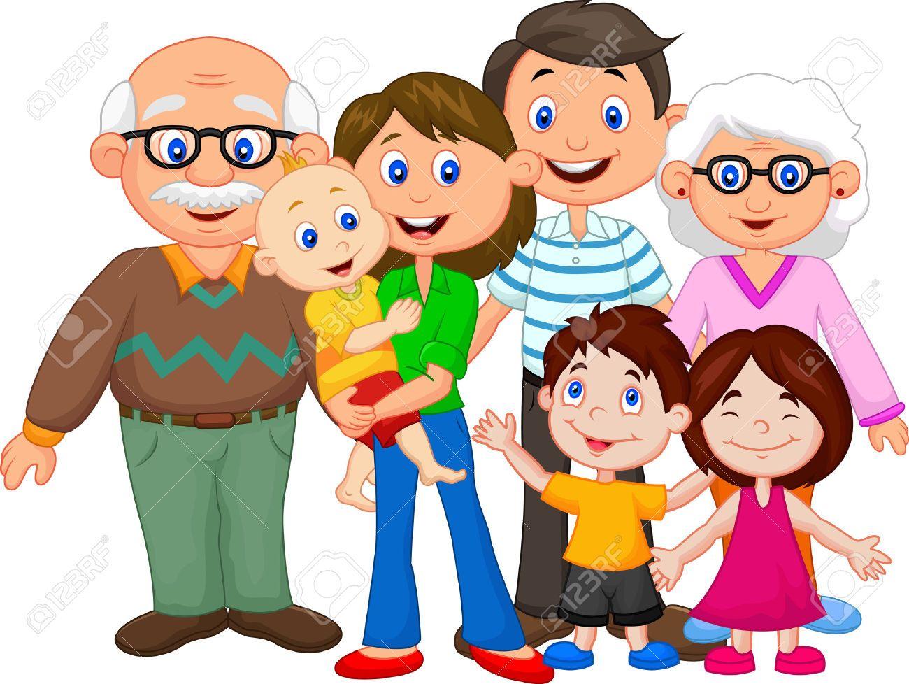 Famiglia Felice Cartone Animato Cartone Animato Cartoni Animati Bambino Illustrazione