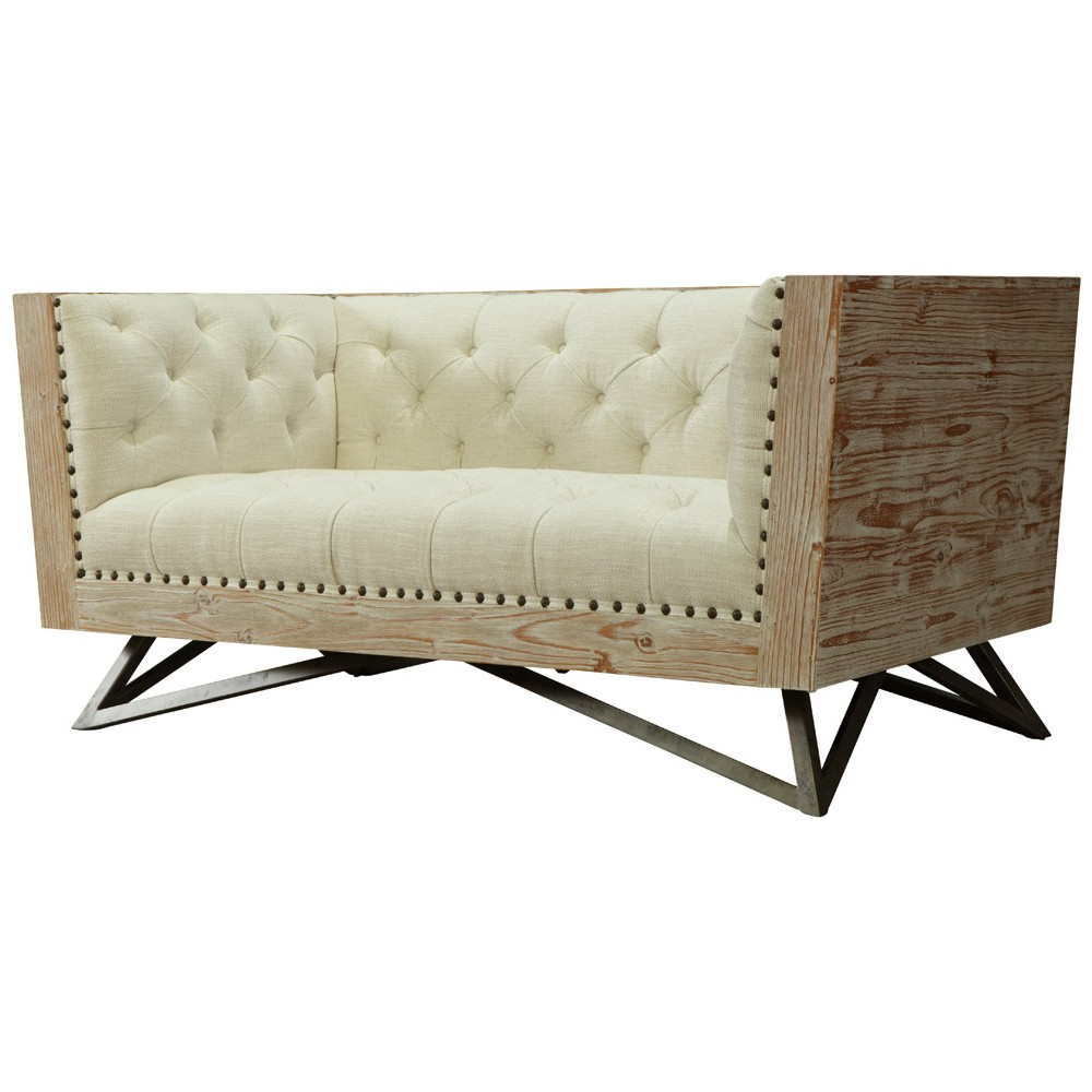 Regis tufted cream fabric loveseat w pine frame gunmetal legs dynamichome industrialstyle designerstyle sofa loveseat tufted mixedmedia