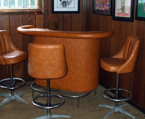Vintage Chromcraft Bar With 3 Stools Late 60 S
